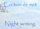 Poème d'Alison Sabedoria :Ecriture de nuit (au fond, un détail de son triptych : La Hase)